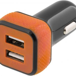 STREETZ billaddare, 2x USB-port, 12-18V till 5V 4,4A USB, svart/orange
