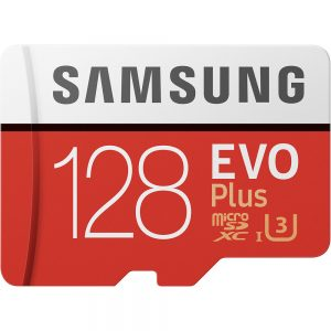 128GB Samsung EVO Plus MicroSDXC med SD-adapter, 100MB/s