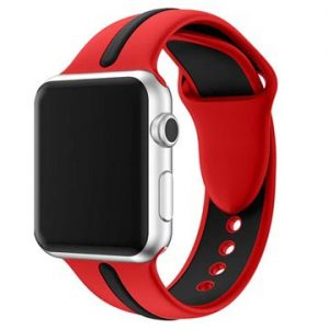 Apple Watch Series 4/3/2/1 Silikon Armband - 38mm, 40mm - Röd / Svart