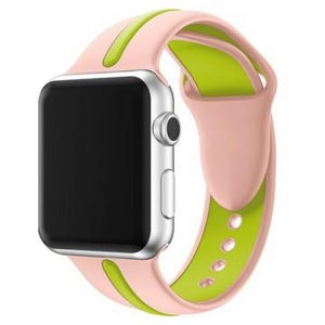 Apple Watch Series 4/3/2/1 Silikon Armband - 38mm, 40mm - Rosa / Grön