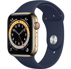 Apple Watch Series 6 GPS + Cellular, 44mm Gold Stainless Steel Case with Deep Navy Sport Band