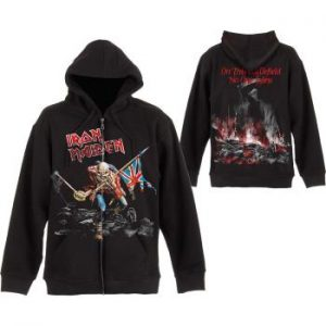 Iron Maiden: Unisex Zipped Hoodie/Scuffed Trooper (Back Print) (Small)